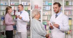 Pharmacist Men Talking Patient Woman Pills Guidance Info Pharmacy Store Activity Stock Footage