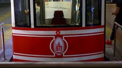 Funicular in Tunel between Beyoglu and Karakoy Stock Footage