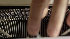 Typewriter detail mechanical metal parts working ink typing Stock Footage