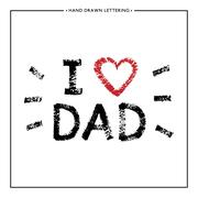 I love Dad lettering with red heart Stock Illustration