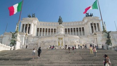 Tourists walking up the stairs to beautiful Il Vittoriano monument in Rome Stock Footage