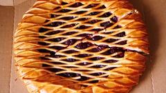 Man taking piece of pie. Stock Footage