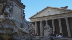 Ancient inscriptions on Pantheon fountain in Rome, historical place, tourism Stock Footage