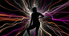 Silhouette dancer with electric strands 4k Stock Footage