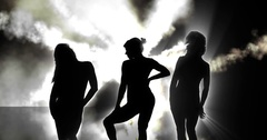 3 silhouette dancers with smoke 4k Stock Footage