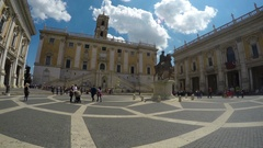 Equestrian statue on Piazza del Campidoglio in Rome, famous touristic place Stock Footage