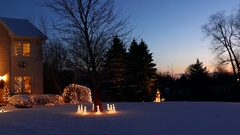 Very special holiday decorated home with Christmas lights, snowy panorama Stock Footage
