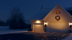 Very special holiday decorated home with Christmas lights, fluffy snow Stock Footage