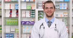 Happy Pharmacist Man Showing Camera Hand Gestures Thumb Up Sign Pharmacy Store Stock Footage