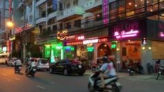 Nha Trang city center at night Stock Footage