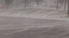 Blowing and drifting snow ahead of major winter storm and blizzard Stock Footage