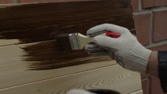 Wood painted by human hand Stock Footage