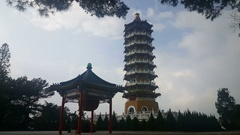 Cien Pagoda an big drum building at Sun Moon Lake Stock Footage