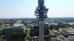 Aerial of the tower and the tv production centre in Cologno Monzese (Milano) Med Stock Footage