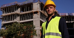 Master Engineer Show Thumb Up Sign Hand Gestures Under Development Site Building Stock Footage