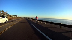 Bike Rider Coast Highway 101 Encinitas California USA Stock Footage