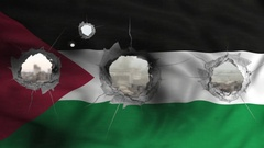 Palestinian flag see through war bullets holes Stock Footage
