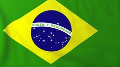 Flag of Brazil waving in the wind, seemless loop animation Stock Footage