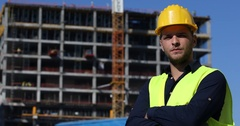 Engineer Man Look Camera Apartments Building Under Development Construction Site Stock Footage