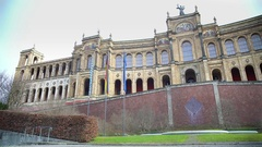 View on neo-Gothic palatial building Maximilianeum in Munich, Germany, tourism Stock Footage