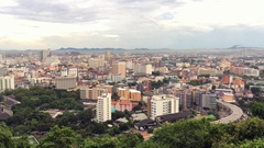 Panorama view of Pattaya city and Gulf of Siam in Thailand Stock Footage