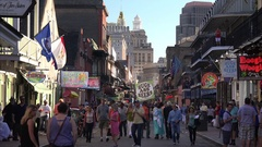 Crowd of Tourists on Bourbon Street in New Orleans, Day Stock Footage