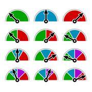 Color Indicator Diagram Set Template Design. Vector Stock Illustration