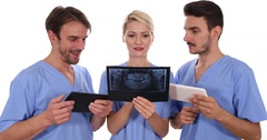 Attractive Doctors Team Work Talking Analyzing Radiography Results Dental Clinic Stock Footage