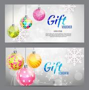 Christmas and New Year Gift Voucher, Discount Coupon Template Ve Stock Illustration