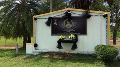 Mourning board with the portrait of Thailand king Stock Footage