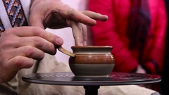 Hands working on pottery wheel Stock Footage