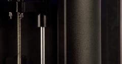 Steel mechanism 3d printer machine components 4k close up video. Stock Footage
