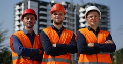 Engineers Men Group Team Looking Camera Under Construction Building Architecture Stock Footage
