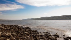 Video time lapse on banks of Volga River late summer Stock Footage