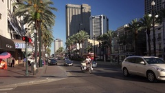 Streetcar and Traffic on Canal Street in Downtown New Orleans Stock Footage