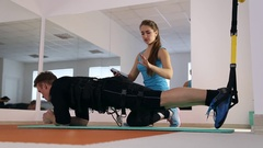 Personal ems training in the gym Stock Footage