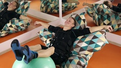 Athlete resting after ems training Stock Footage