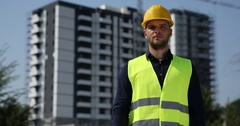 Confident Engineer Man Show Thumb Up Sign Looking Camera Under Development Site Stock Footage