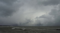 Snowsquall out of the lake Stock Footage