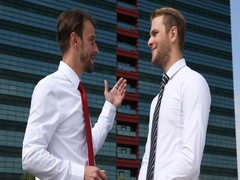 Happy Business Men Speaking Teamwork Collaboration Front of Corporation Building Stock Footage