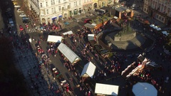 PRAGUE, CZECH REPUBLIC - DECEMBER 3, 2016. Town square with decorated Christmas Stock Footage