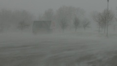 Blowing snow and blizzard conditions with whiteouts in storm Stock Footage