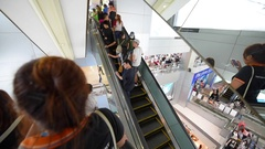 Interior of MBK shopping center in Bangkok city downtown Stock Footage