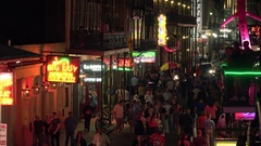 Bourbon Street at Night in French Quarter of New Orleans - View From Above Stock Footage