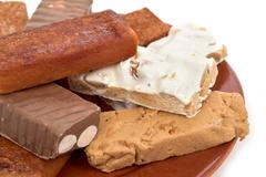 Turron, typical christmas confection in Spain Stock Photos