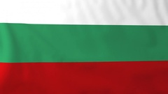 Flag of Bulgaria waving in the wind, seemless loop animation Stock Footage