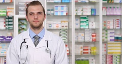 Pharmacist Man Looking Camera Hand Gestures Saluting Pharmacy Store Introduction Arkistovideo