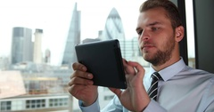 Happy Attractive Businessman Using Digital Tablet Excited Results London Skyline Stock Footage