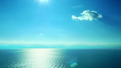 Beautiful simple scenery blue sky water surface sun reflection sea waterscape Stock Footage