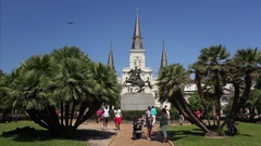 Tourists and Statue of Andrew Jackson in Historic Jackson Square - New Orleans Stock Footage